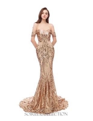 LIGHT GOLD OFF SHOULDER SEQUINED DRESS