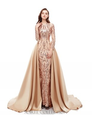LIGHT GOLD LONG SLEEVE SEQUINED DRESS WITH OVERSKIRT