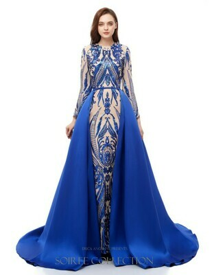 BLUE SEQUINED DRESS WITH REMOVABLE OVERSKIRT