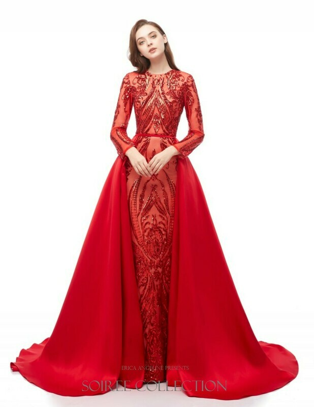 RED SEQUINED DRESS WITH REMOVABLE OVERSKIRT
