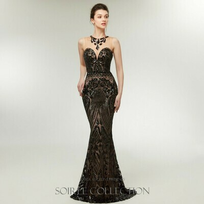 BLACK SWEETHEART SEQUINED DRESS WITH ILLUSION BODICE