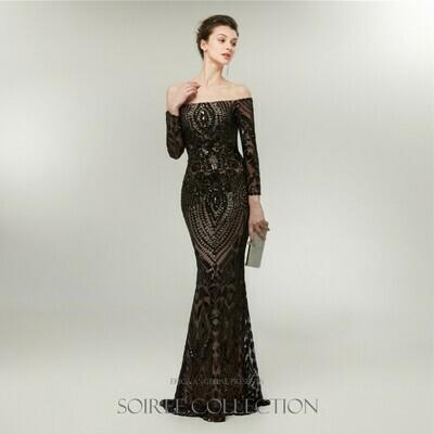 BLACK OFF THE SHOULDER SEQUINED DRESS