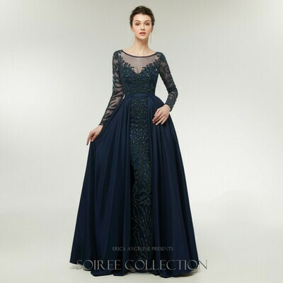 MIDNIGHT BLUE LONG SLEEVE GOWN WITH BEADING AND OVERSKIRT