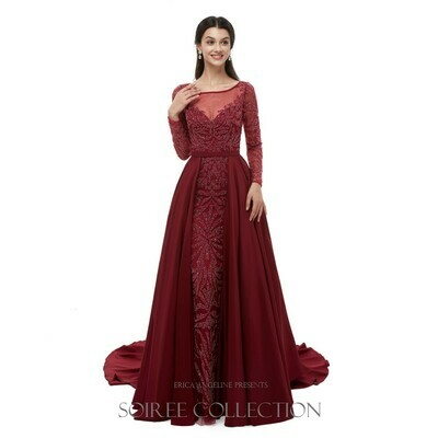 RED LONG SLEEVE GOWN WITH BEADING AND OVERSKIRT