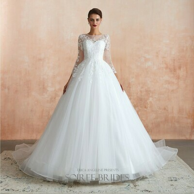 LACE A-LINE TULLE BALLGOWN