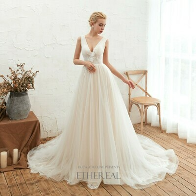 CHAMPAGNE V NECK SEMI-SHEER LACE & TULLE GOWN