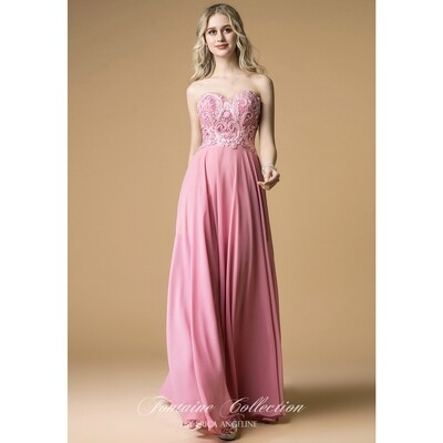 SWEETHEART EMBROIDERED BODICE FLOOR LENGTH DRESS WITH BEADING