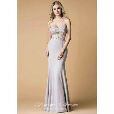 SWEETHEART ILLUSION BODICE FLOOR LENGTH DRESS WITH BEADING