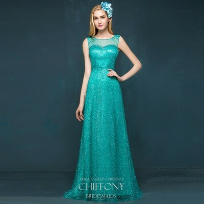 JEWEL NECKLINE SPARKLE TULLE A-LINE DRESS IN TEAL