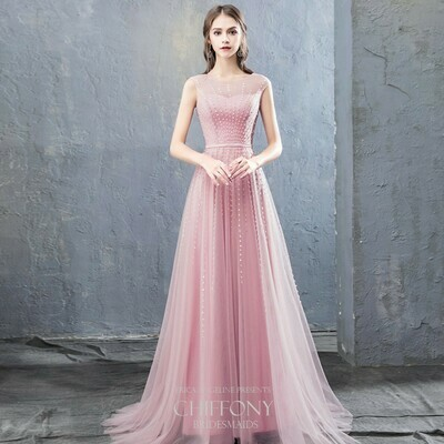 JEWEL NECKLINE BEADED TULLE A-LINE DRESS IN PINK