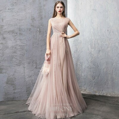 JEWEL NECKLINE WASHED TULLE A-LINE DRESS IN BLUSH PINK