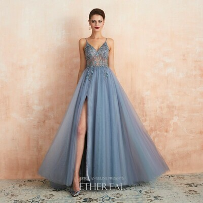 BEADED BLUE TULLE EVENING GOWN WITH SLIT