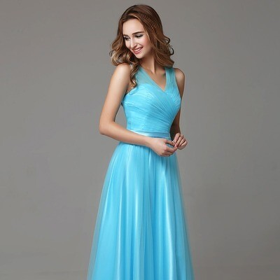 LONG BLUE TULLE FORMAL BRIDESMAID DRESS WITH V-NECK STRAPS