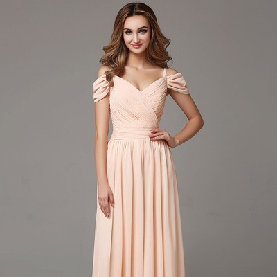 FLOOR LENGTH OFF THE SHOULDER CHIFFON BRIDESMAID DRESS