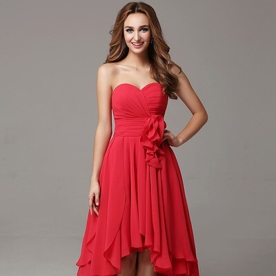 HIGH LOW SWEETHEART CHIFFON BRIDESMAID DRESS