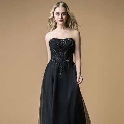 SWEETHEART LACE BODICE FULL LENGTH DRESS WITH BEADING