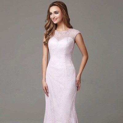 LACE CAP SLEEVE MERMAID FLOOR LENGTH DRESS