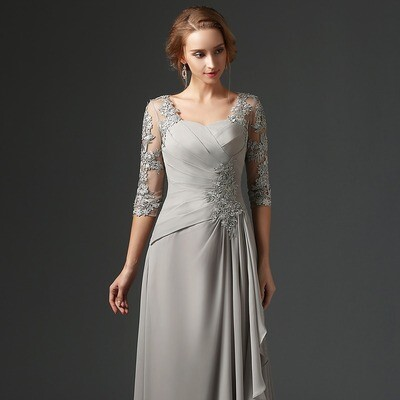 A-LINE LACE CHIFFON MOTHER OF THE BRIDE DRESS WITH HALF SLEEVES