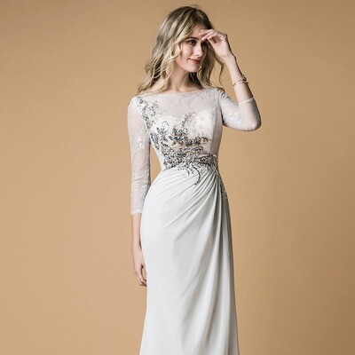 LACE & CHIFFON BATEAU RUCHED GOWN WITH APPLIQUES