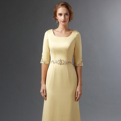 SATIN COLUMN DRESS WITH HALF SLEEVES AND EMBELLISHMENT