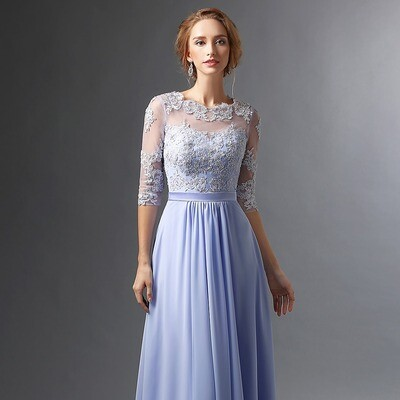 CHIFFON FLOOR LENGTH MOTHER OF THE BRIDE DRESS WITH 3/4 SLEEVES