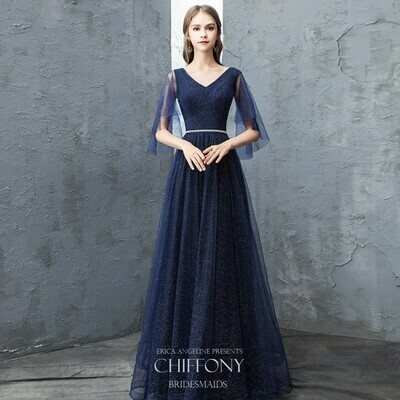 V NECKLINE SPARKLE TULLE A-LINE DRESS IN NAVY BLUE