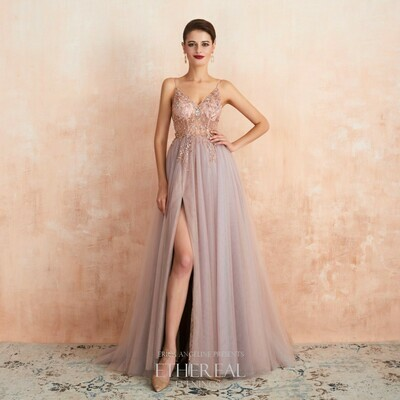 BEADED PINK TULLE EVENING GOWN WITH SLIT