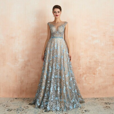 BEADED SHEER BODICE GRAPHIC LACE GOWN