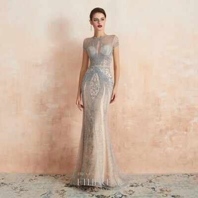 CRYSTAL EMBELLISHED CHAMPAGNE GOWN