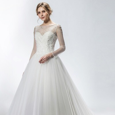 SWEETHEART NECKLINE SHEER BEADED OVERLAY BALLGOWN