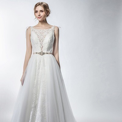 BOAT NECK LACE OVERLAY & TULLE A-LINE GOWN