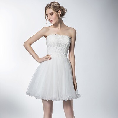 VINTAGE LACE AND CHIFFON MINI RECEPTION DRESS WITH LAYERED SKIRT