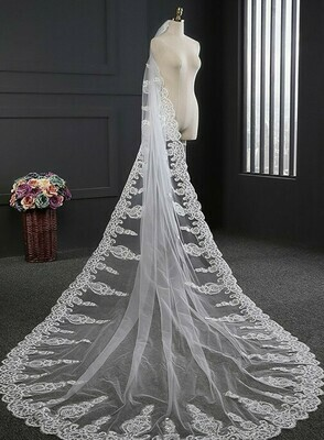 ONE LAYER SEQUIN LACE EDGE CATHEDRAL LENGTH VEIL