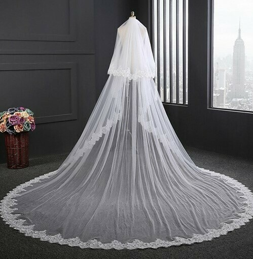 LACE EDGE SPARKLE CATHEDRAL VEIL WITH BLUSHER