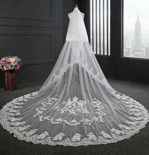 TWO LAYERED CATHEDRAL LENGTH VEIL WITH APPLIQUE