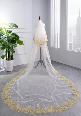 TWO LAYERED CATHEDRAL LENGTH VEIL WITH GOLD APPLIQUE
