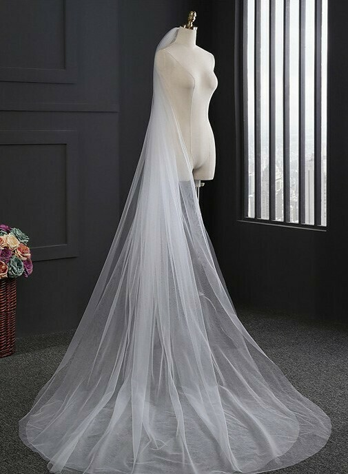 TWO LAYER TULLE CHAPEL LENGTH VEIL WITH COMB