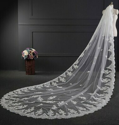 ONE LAYER LACE EDGE CATHEDRAL LENGTH VEIL