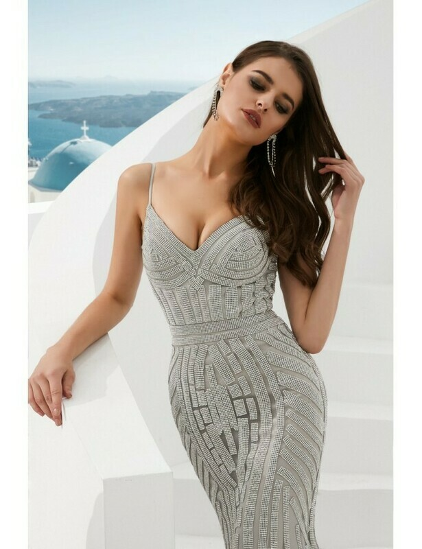 SILVER SEQUINED MERMAID DRESS WITH DELICATE STRAPS