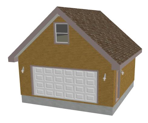 G430 23 x 24 Garage with loft or apartment Plan