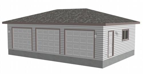 sdsg405 36' x 24' x 8' 3-car garage