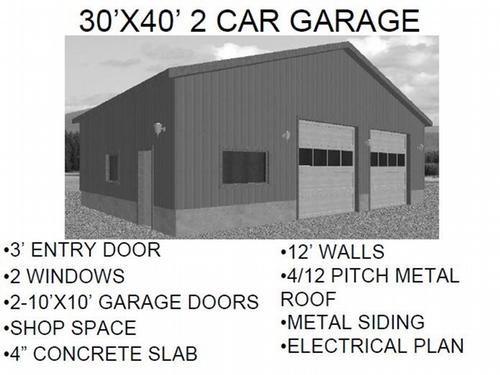 30'X40' 2 CAR GARAGE