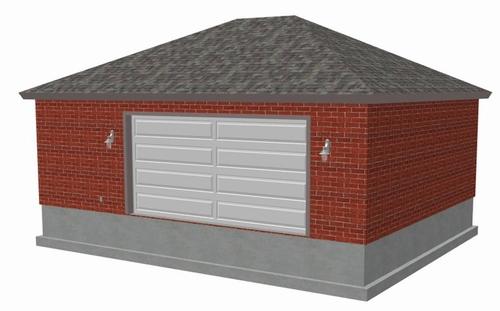 #g456 24 x 30 x 10 Hip Brick Eave side doors Garage Plan