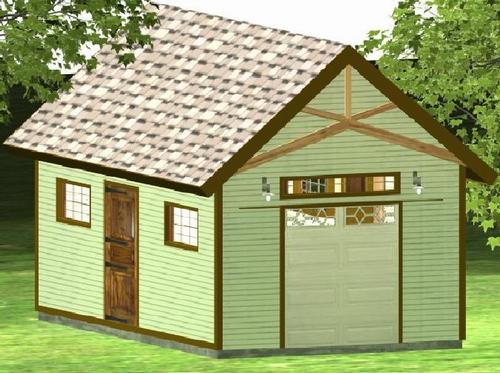 Gentleman Garage With side Door Plan