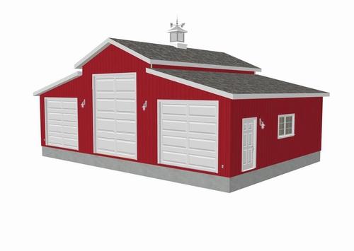 Plan #g258 45 x 30 - 10' Sides 15' center RV Garage Plan PDF and DWG