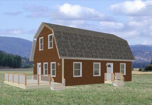 24' x 36' Gambrel Roof Cabin