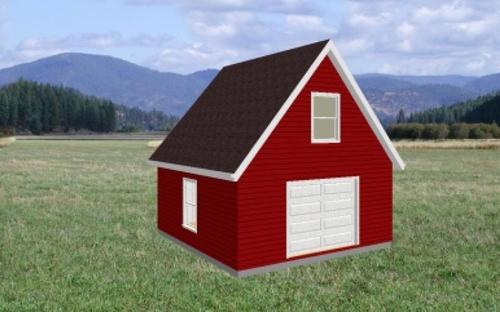 20' x 20' Workshop Garage with Loft Plan