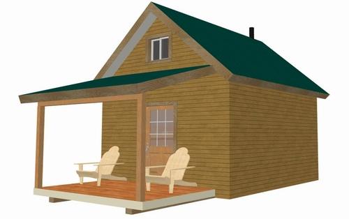 #226 12' X 14' X 8', Bunk House Cabin Plan