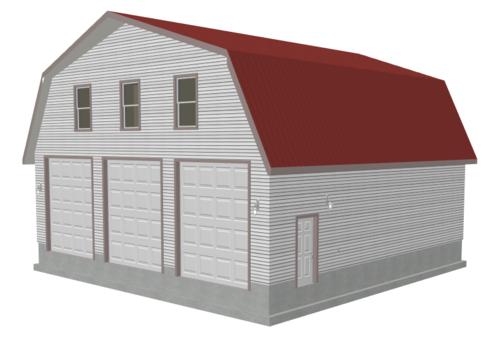 G491 Plans 40 x 40 x 12-6 Gambrel Barn Apartment Plans