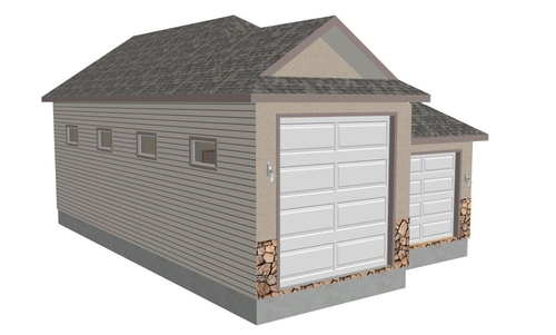 G355 30 X 48 X 14 detached RV Garage Plans in PDF